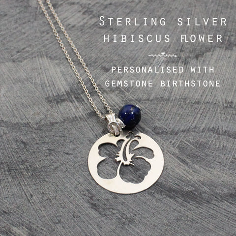 Gemstone & Hibiscus flower silver personalised necklace
