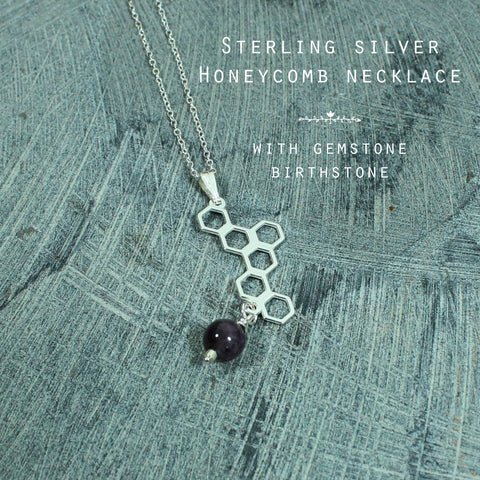 Gemstone & Honeycomb silver personalised necklace