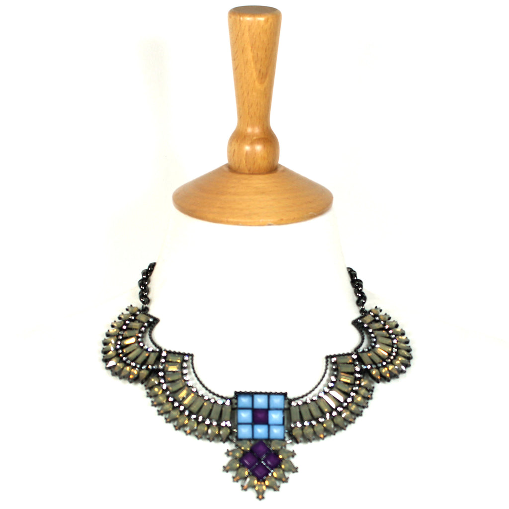 Liberta Smoke amethyst crystal statement bib collar necklace