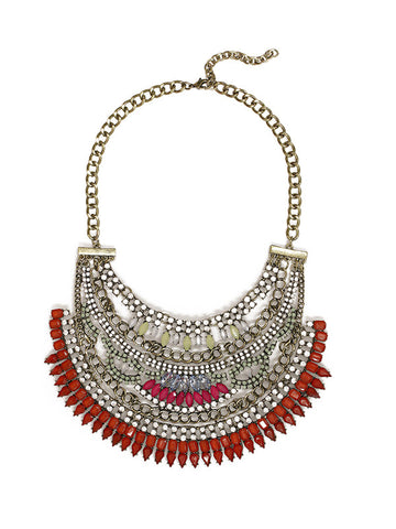 Lucia Bib metallic statement necklace accented with red