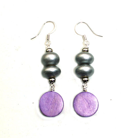 Silver and lilac purple wood pop earrings
