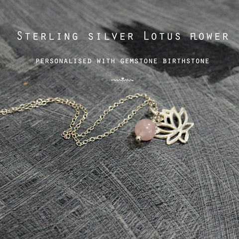 Gemstone & Lotus flower silver personalised necklace