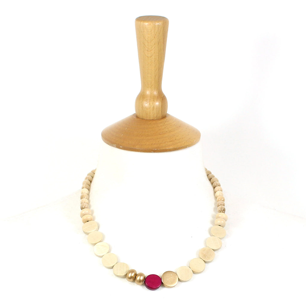 Name & favour Miana necklace in Cedar pink and Copper light wood