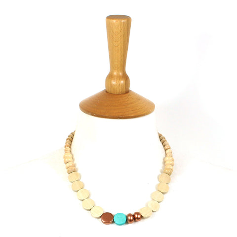 Name & favour Miana necklace in Turquoise and Copper light wood