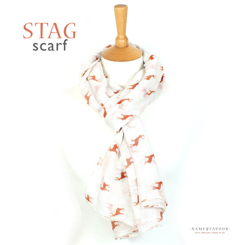Stag print dark red paper and white scarf