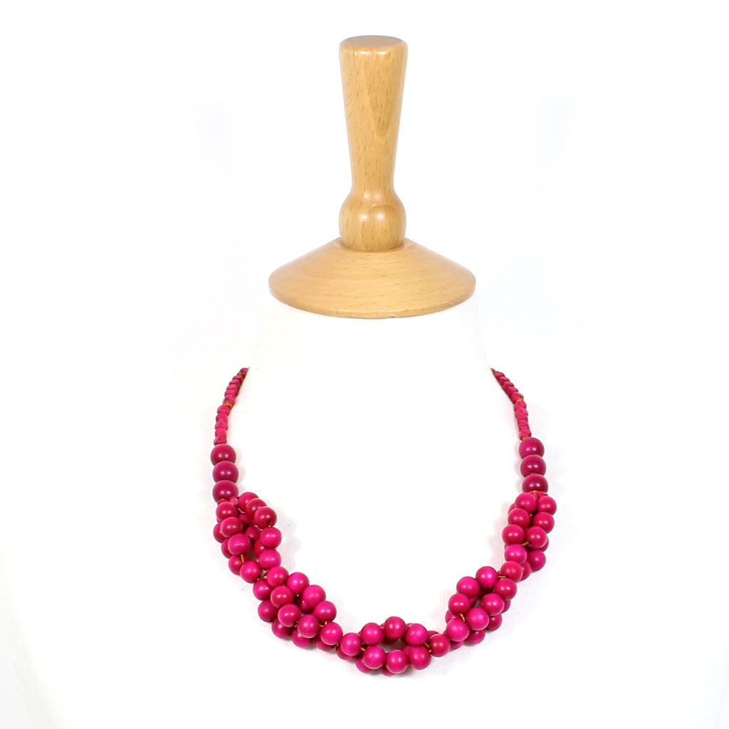Tani PINK berries wooden layered necklace