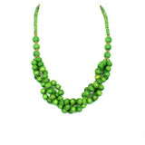 Tani GREEN berries wooden layered necklace