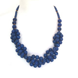 Tani FRENCH BLUE berries wooden layered necklace