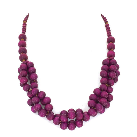 Tani PURPLE berries wooden layered necklace