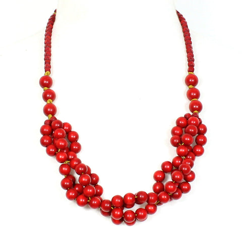 Tani RED berries wooden layered necklace