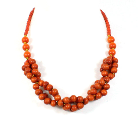 Tani ORANGE berries wooden layered necklace