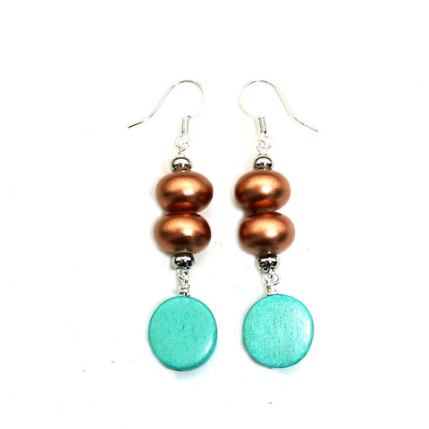 Copper Turquoise and wood pop earrings