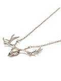 Silver metal contemporary Antler skull necklace