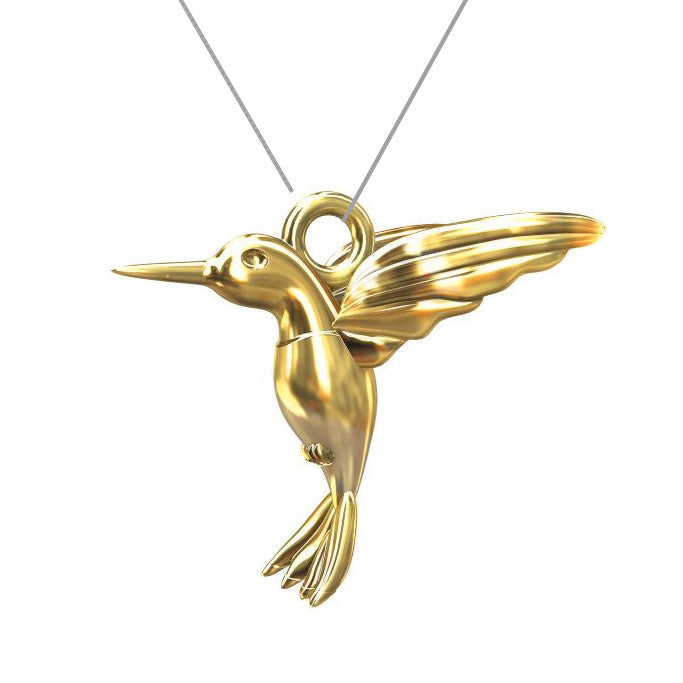 Sterling silver 24CT gold plated Hummingbird pendant charm necklace