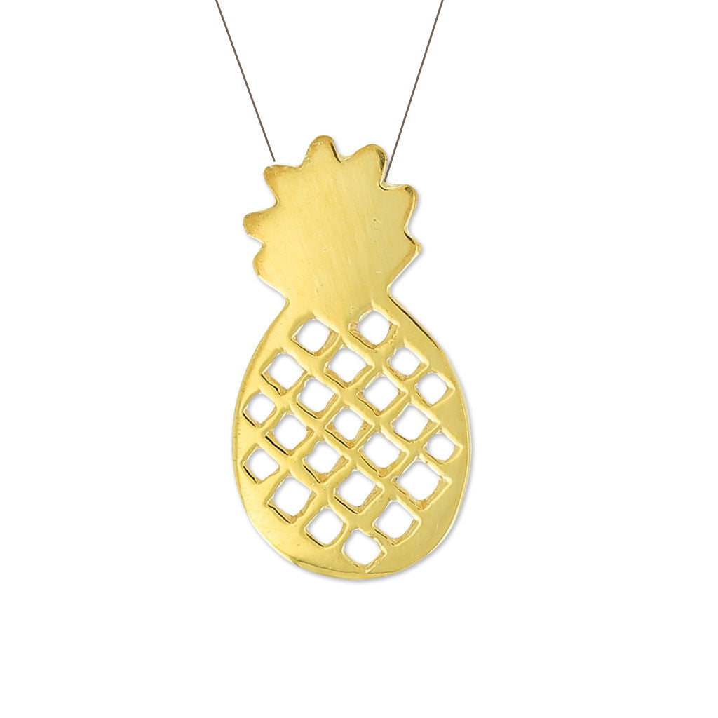 Sterling silver 24ct gold plated Pineapple pendant charm necklace