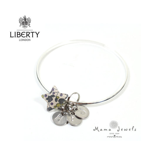 Liberty of London silver hand stamped bangle birthstones