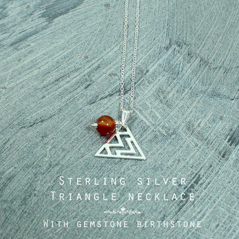 Gemstone Triangle silver personalised necklace