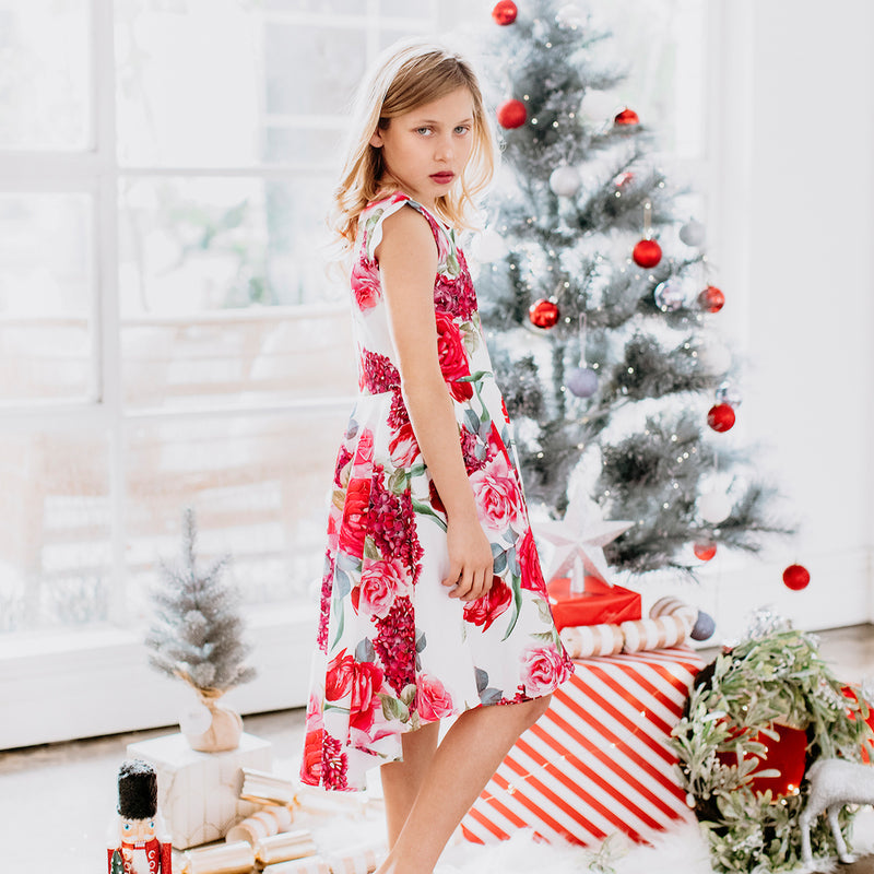 Buy Estelle Red Floral Dress - Designer Kidz | Special Occasions, Party Wear & Weddings  | Sizes 000-16 | Little Girls Party Dresses, Tutu Dresses, Flower Girl Dresses | Pay with Afterpay | Free AU Delivery Over $80