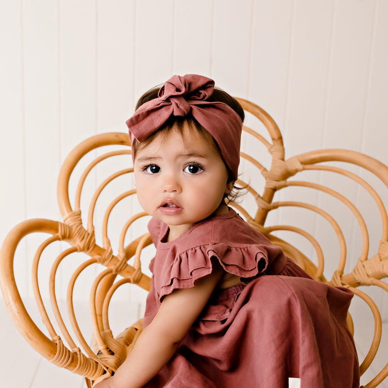 Buy Linen Headband - Redwood - Designer Kidz | Special Occasions, Party Wear & Weddings  | Sizes 000-16 | Little Girls Party Dresses, Tutu Dresses, Flower Girl Dresses | Pay with Afterpay | Free AU Delivery Over $80