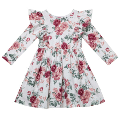 Audrey Floral L/S Hazel Dress - Tea Rose