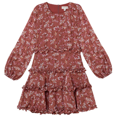 Indi Floral Frill Dress - Cinnamon