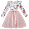 Audrey Floral L/S Tutu Dress - Tea Rose