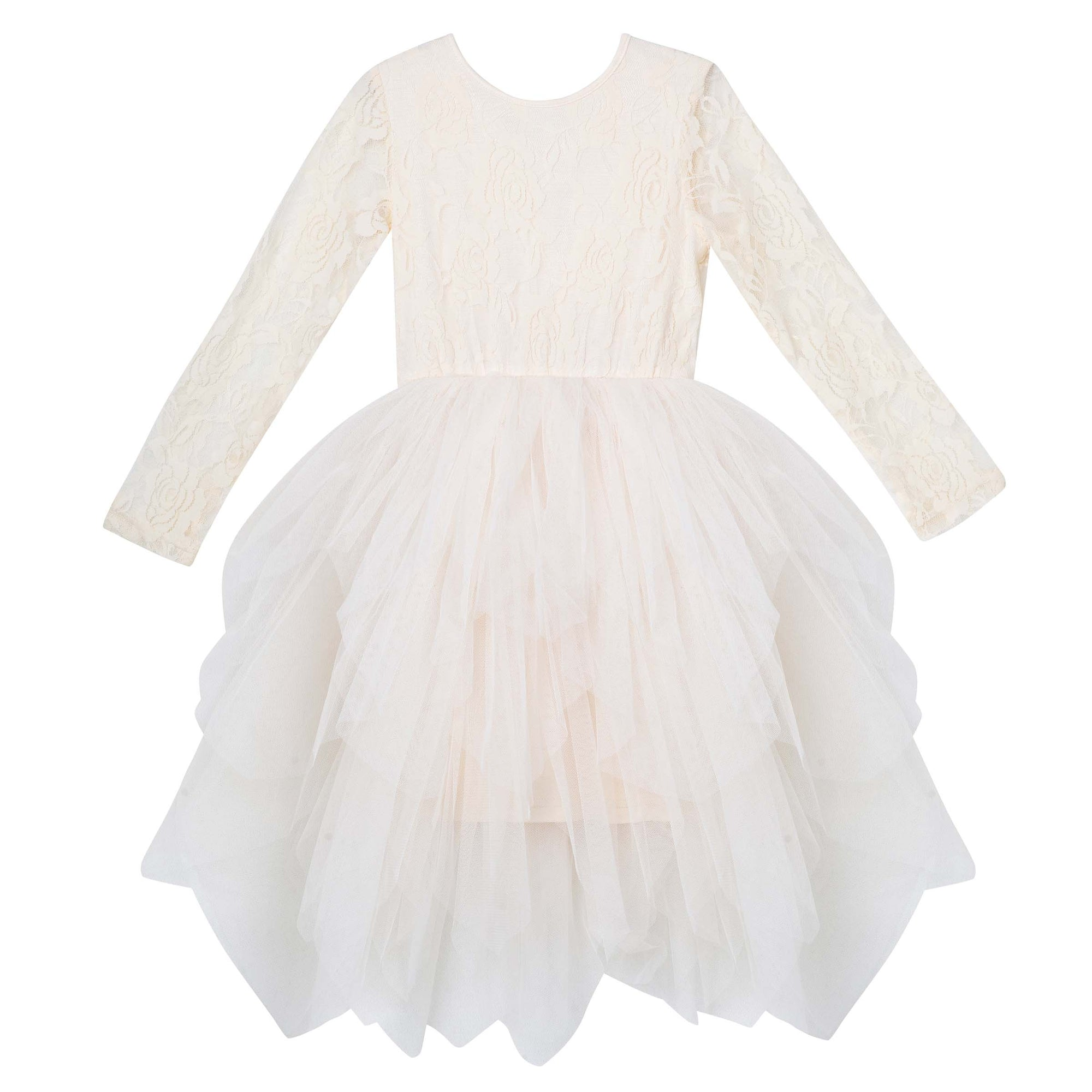 Sophie L/S Lace Bodice Tutu Dress - Beige
