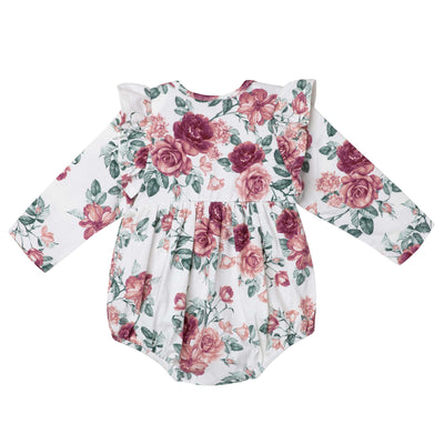Audrey Floral L/S Bubble Romper - Tea Rose