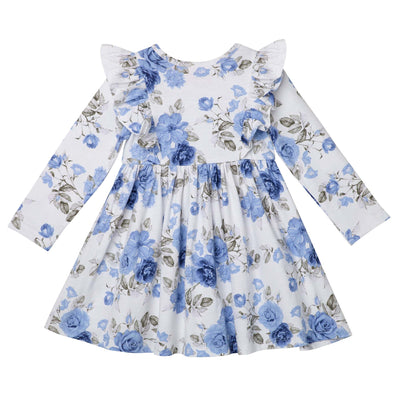 Audrey Floral L/S Hazel Dress - Dusty Blue