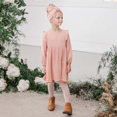 Georgia Spot Dress - Dusty Pink