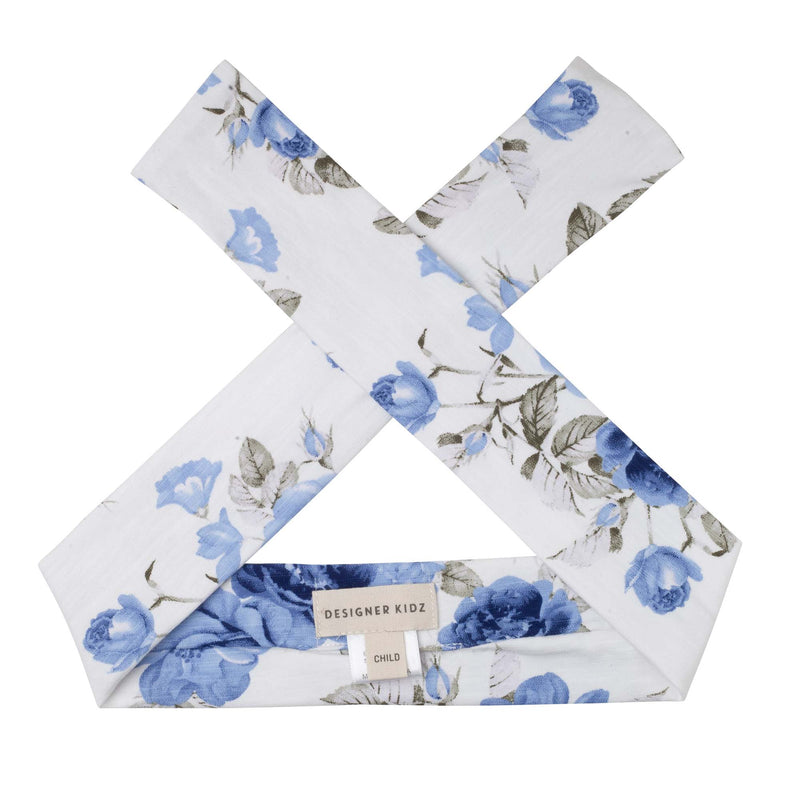 Audrey Floral Headband - Dusty Blue