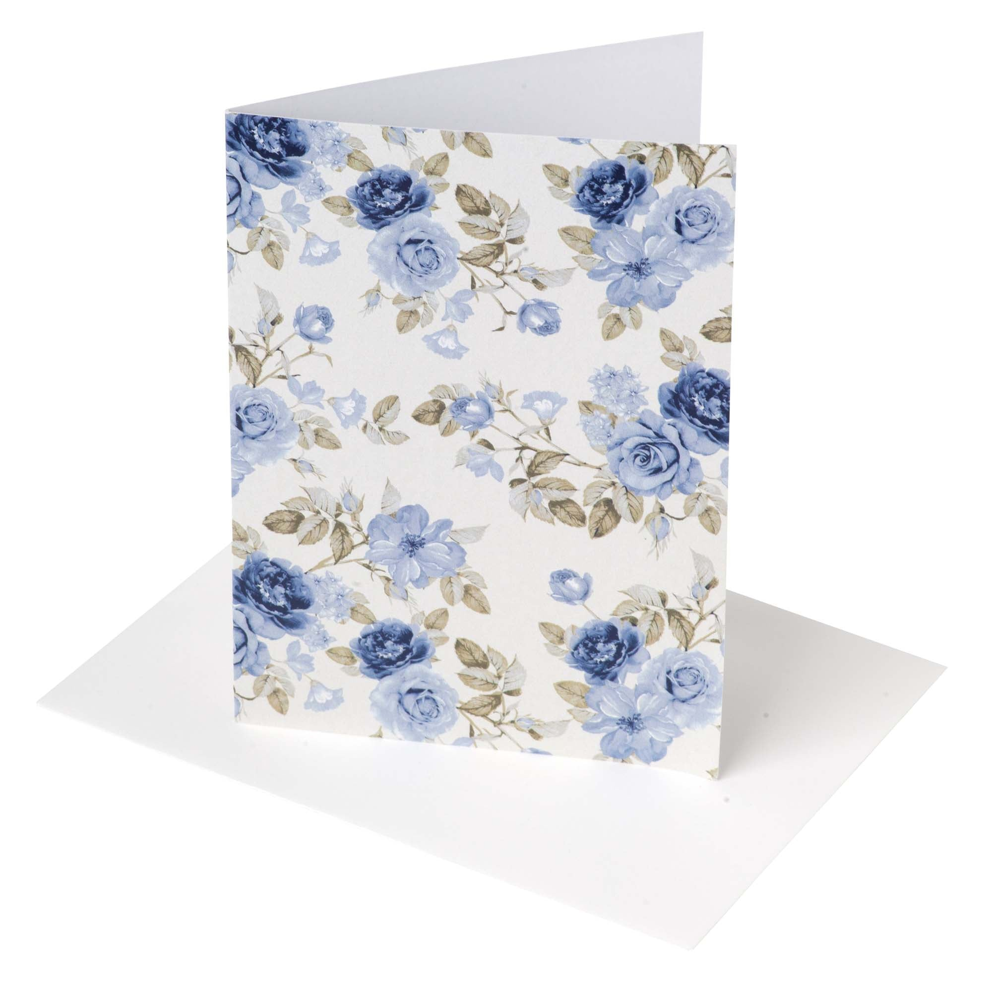 Audrey Floral Greeting Card - Dusty Blue