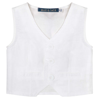 Buy Toby Linen Vest - White - Designer Kidz | Special Occasions, Party Wear & Weddings  | Sizes 000-16 | Little Girls Party Dresses, Tutu Dresses, Flower Girl Dresses | Pay with Afterpay | Free AU Delivery Over $80