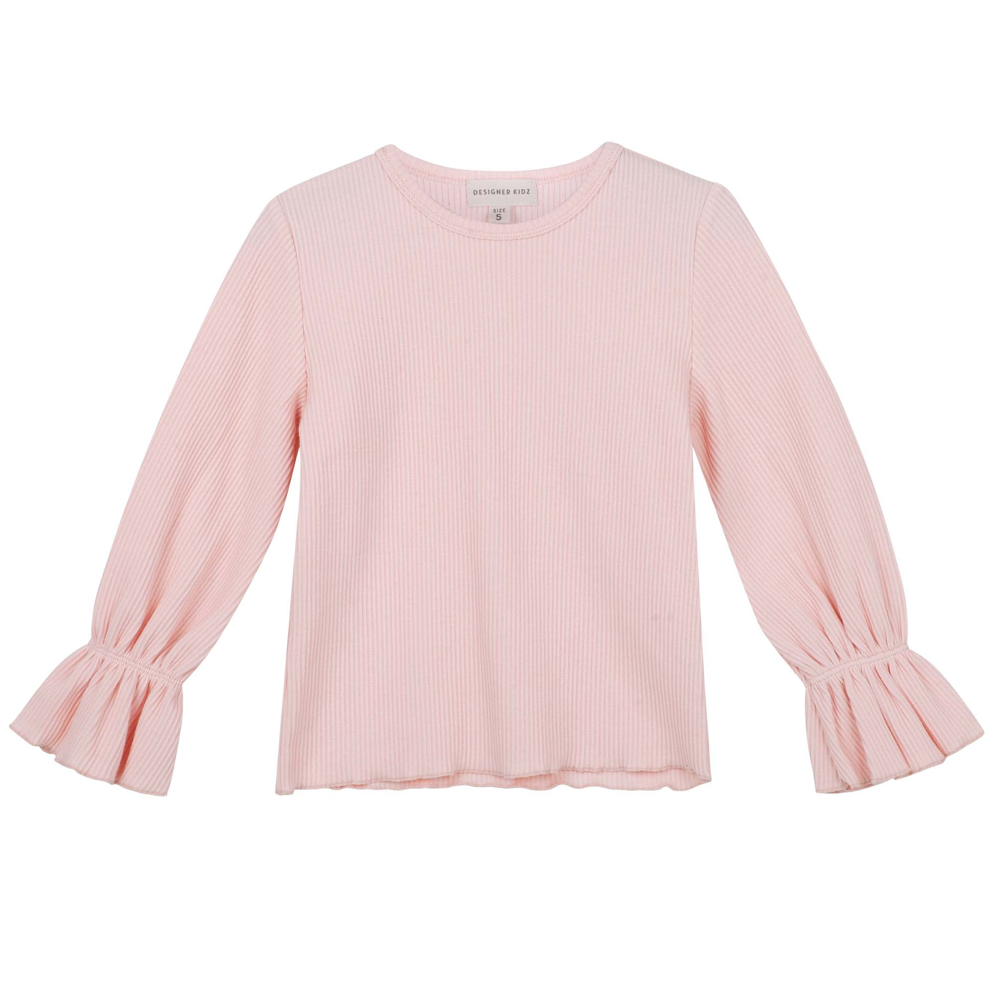 Rib Frill Sleeve Top - Pale Pink