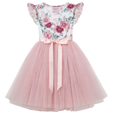 Buy Audrey Floral S/S Tutu Dress - Tea Rose - Designer Kidz | Special Occasions, Party Wear & Weddings  | Sizes 000-16 | Little Girls Party Dresses, Tutu Dresses, Flower Girl Dresses | Pay with Afterpay | Free AU Delivery Over $80