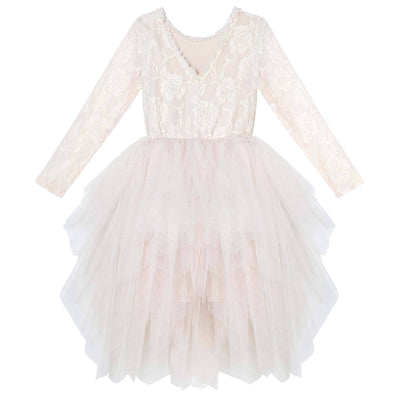 Ella Lace Tutu Dress/L - Beige - Designer Kidz