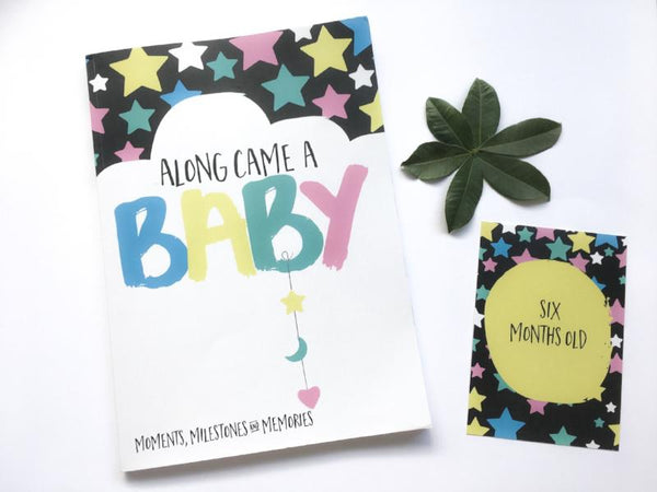 Along Came A Baby - Baby Milestone Book + Milestone Cards Bundle