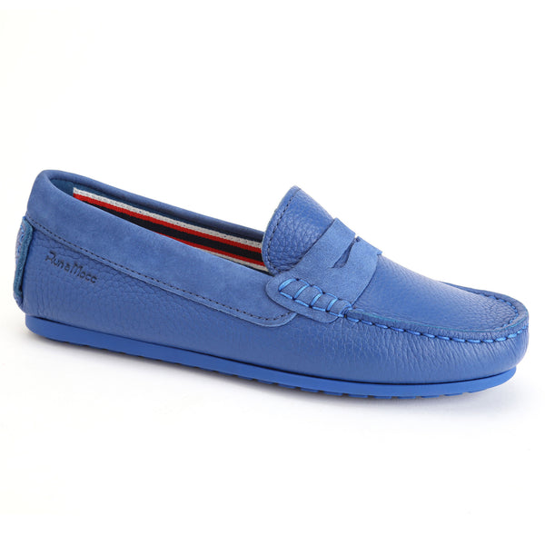 Electric Blue Grained Leather/Royal Blue Nubuck