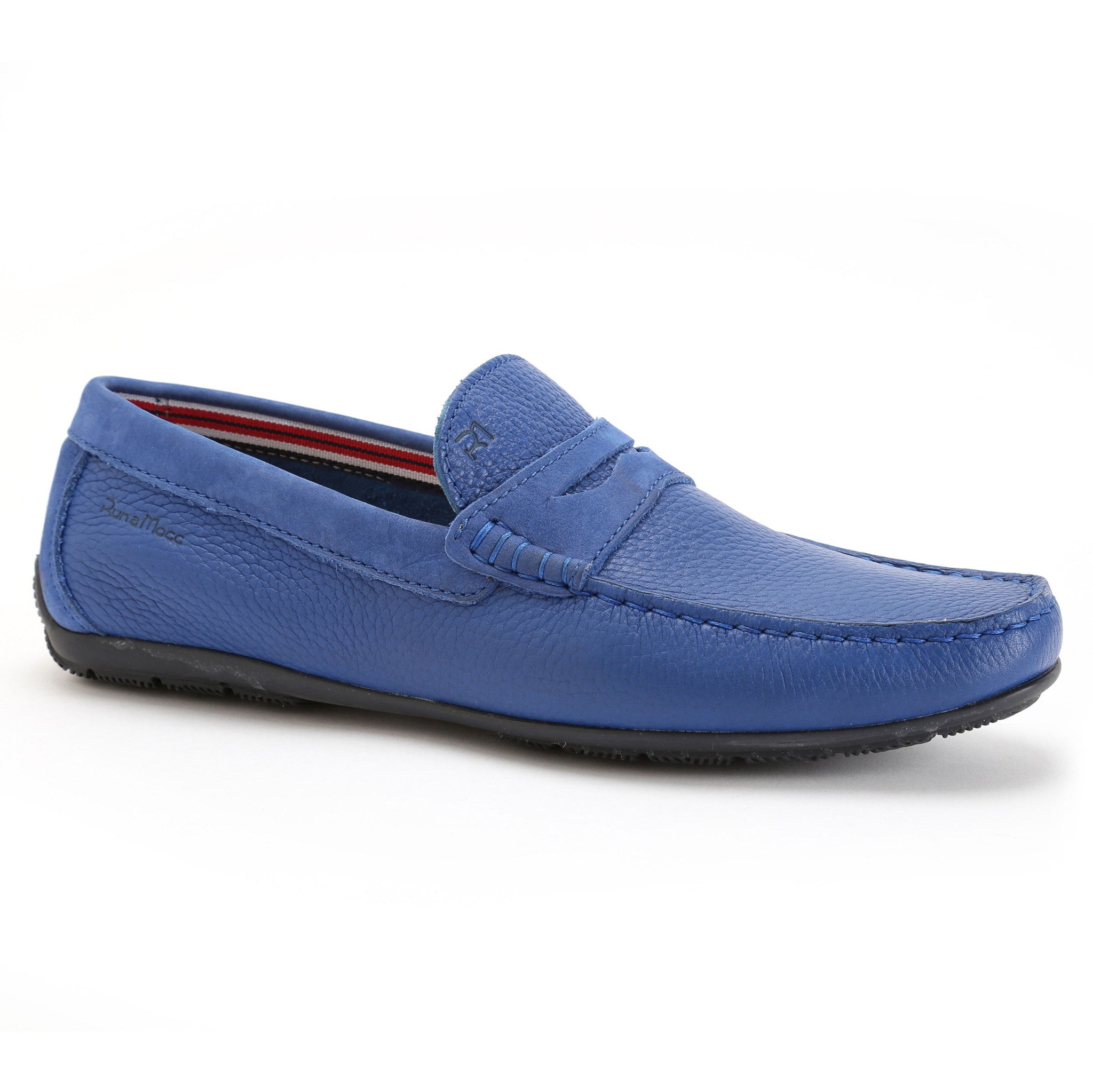 Grained Electric Blue Leather/Royal Blue Nubuck
