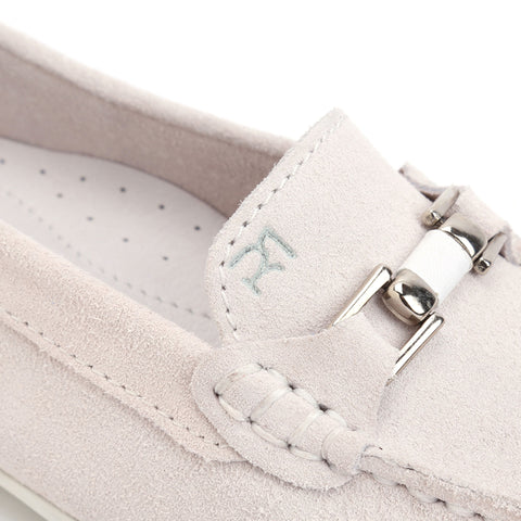 Pale Grey Suede/White Leather Trim