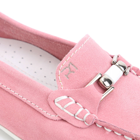 Pink Suede/White Leather Trim