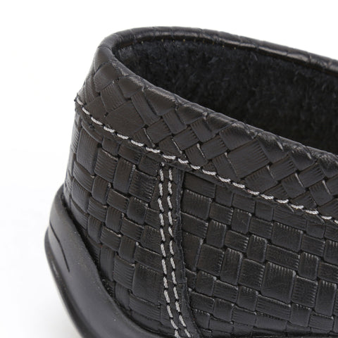 Black Basket Weave Leather
