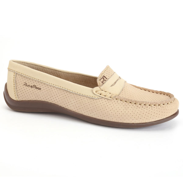 Beige Perforated Leather/Bright Beige Leather