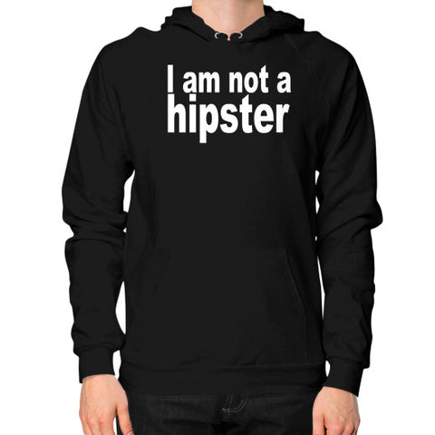 Not a Hipster Hoodie (on man) Black Robert Klein