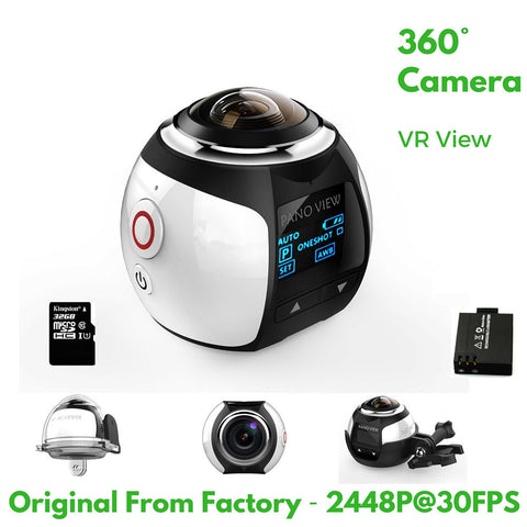 4K 360 Degree Action Video Camera Wifi Mini 2448 * 2448 16MP Ultra HD Panorama Camera 3D Waterproof Sport Driving VR Camera