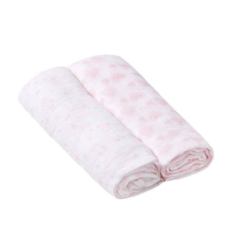 Two Pack Muslin Squares In Pink