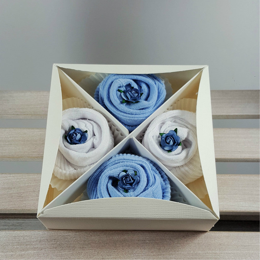 Box of Baby Socks Cupcakes in Blue