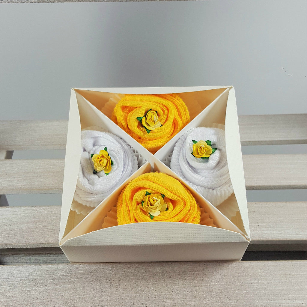 Box of Baby Socks Cupcakes in Yellow
