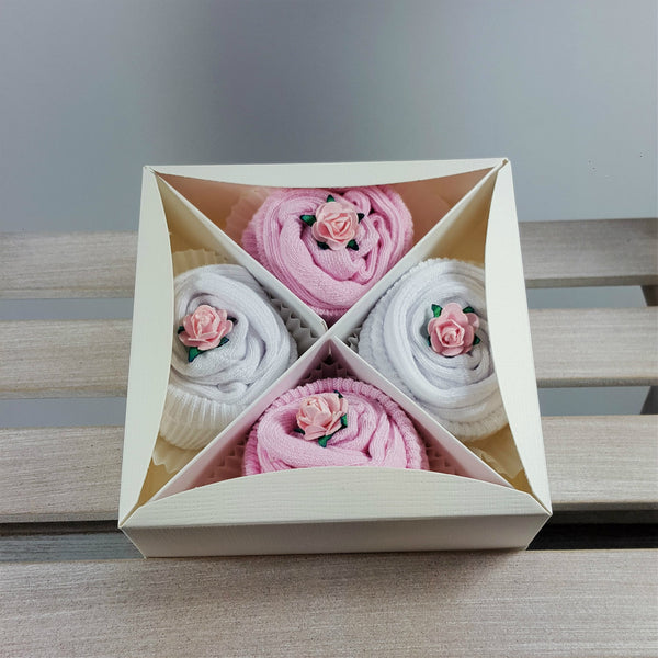 Box of Baby Socks Cupcakes in Pink
