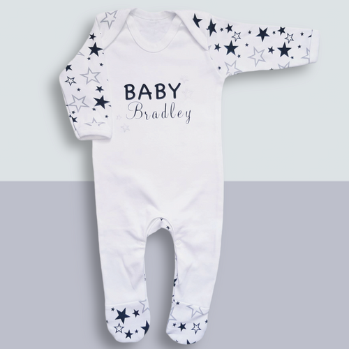 Personalised baby sleepsuit -  Personalised Baby Gifts - Ema and Boo